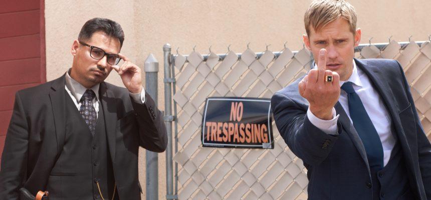 Michael Peña as Bob Bolano and Alexander Skarsgård as Terry Monroe in WOE by John Michael McDonagh-poster  copy