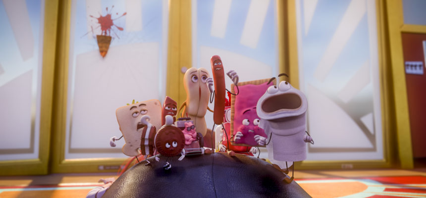 Brenda (Kristen Wiig), Frank (Seth Rogen) and others in Columbia Pictures' SAUSAGE PARTY.